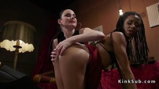 Ebony lesbian spanked and whipped in bdsm
