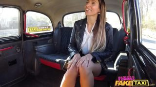 Female Fake Taxi Cherry Kiss lesbian sex with long haired brunette